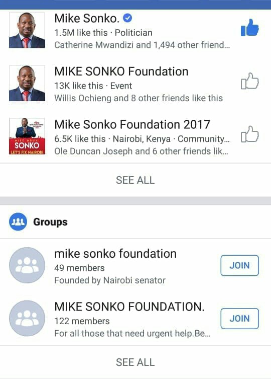 Cons are now using Fake Facebook account pretending to be Mike Sonko